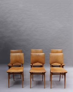 Jean Souvrain Set of 6 French 1950s Cherry and Leather Chairs by Jean Souvrain - 2004602