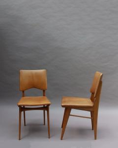 Jean Souvrain Set of 6 French 1950s Cherry and Leather Chairs by Jean Souvrain - 2004607