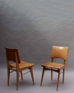 Jean Souvrain Set of 6 French 1950s Cherry and Leather Chairs by Jean Souvrain - 2004630