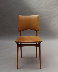 Jean Souvrain Set of 6 French 1950s Cherry and Leather Chairs by Jean Souvrain - 2004646