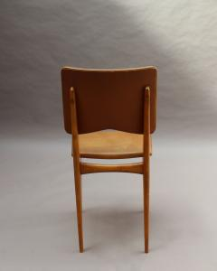 Jean Souvrain Set of 6 French 1950s Cherry and Leather Chairs by Jean Souvrain - 2004650