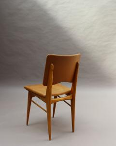 Jean Souvrain Set of 6 French 1950s Cherry and Leather Chairs by Jean Souvrain - 2004660