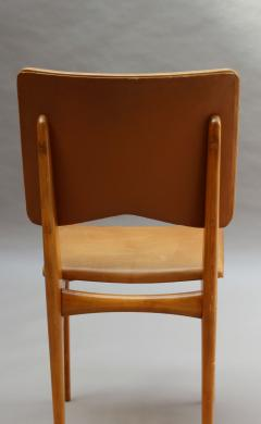 Jean Souvrain Set of 6 French 1950s Cherry and Leather Chairs by Jean Souvrain - 2004678