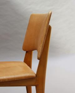 Jean Souvrain Set of 6 French 1950s Cherry and Leather Chairs by Jean Souvrain - 2004686
