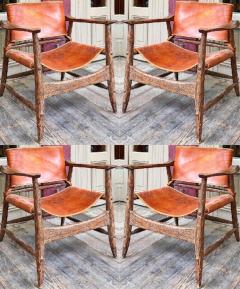 Jean Touret Jean Touret stunning brutalist a la gouge oak set of 4 organic lounge chairs - 1689041