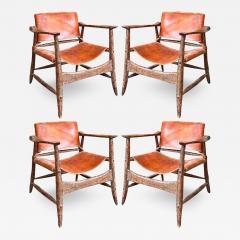 Jean Touret Jean Touret stunning brutalist a la gouge oak set of 4 organic lounge chairs - 1693026