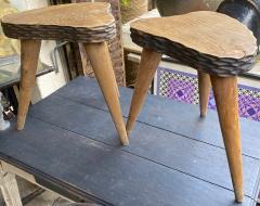 Jean Touret Jean Touret style brutalist pair of oak tripod stools carved a la gouge  - 1651283