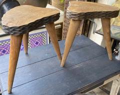 Jean Touret Jean Touret style brutalist pair of oak tripod stools carved a la gouge  - 1651299