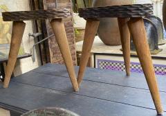 Jean Touret Jean Touret style brutalist pair of oak tripod stools carved a la gouge  - 1651300