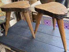 Jean Touret Jean Touret style brutalist pair of oak tripod stools carved a la gouge  - 1651301