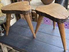 Jean Touret Jean Touret style brutalist pair of oak tripod stools carved a la gouge  - 1651302