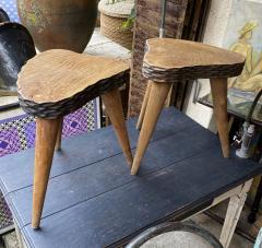 Jean Touret Jean Touret style brutalist pair of oak tripod stools carved a la gouge  - 1651303