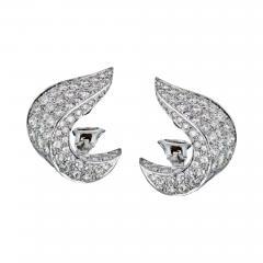 Jean Vitau JEAN VITAU CIRCA 1970S PLATINUM 9 50 CARAT DIAMOND CLIP ON EARRINGS - 1829298