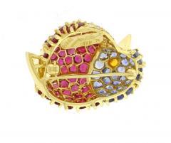 Jean Vitau Jean Vitau Gemstone Gold Chickadee Brooch - 458138