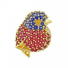 Jean Vitau Jean Vitau Gemstone Gold Chickadee Brooch - 470369
