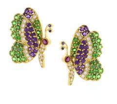 Jean Vitau Jean Vitau Multi Gem Butterfly Earrings - 1095156