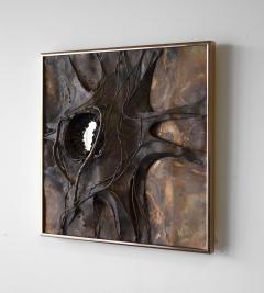 Jeanne Samper Jeanne Samper Brutalist Wall Sculpture in Copper with Mirror 1960s - 1774199