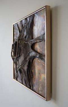 Jeanne Samper Jeanne Samper Brutalist Wall Sculpture in Copper with Mirror 1960s - 1774205