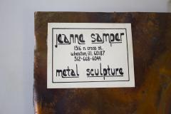 Jeanne Samper Jeanne Samper Brutalist Wall Sculpture in Copper with Mirror 1960s - 1774206