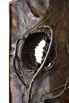 Jeanne Samper Jeanne Samper Brutalist Wall Sculpture in Copper with Mirror 1960s - 1774208