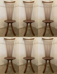 Jeffrey Greene A Set of 6 American Modern Walnut High Back Dining Chairs Jeffrey Greene - 1754432