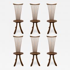 Jeffrey Greene A Set of 6 American Modern Walnut High Back Dining Chairs Jeffrey Greene - 1757102