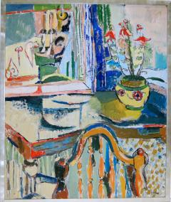 Jehudith Sobel Blue Interior With Table and Flowers - 1179601