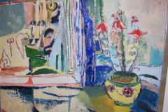 Jehudith Sobel Blue Interior With Table and Flowers - 1179602