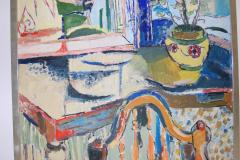 Jehudith Sobel Blue Interior With Table and Flowers - 1179603