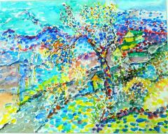 Jehudith Sobel Impressionistic Landscape Watercolor - 1079491