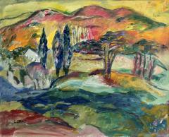Jehudith Sobel Vibrant Landscape With Mountain View - 1166445