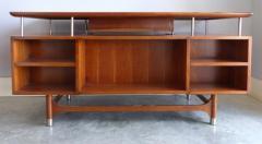 Jens Risom Mid Century Modern Jens Risom Solid Cherry and Chrome Executive Desk - 1028326