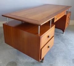 Jens Risom Mid Century Modern Jens Risom Solid Cherry and Chrome Executive Desk - 1028328