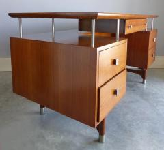 Jens Risom Mid Century Modern Jens Risom Solid Cherry and Chrome Executive Desk - 1028329