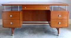 Jens Risom Mid Century Modern Jens Risom Solid Cherry and Chrome Executive Desk - 1028330
