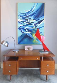 Jens Risom Mid Century Modern Jens Risom Solid Cherry and Chrome Executive Desk - 1028331