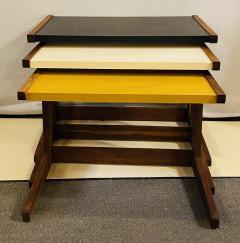 Jens Risom Mid Century Modern Set of Walnut Vinyl Nesting Side Tables By Jens Risom 1960s - 1479594