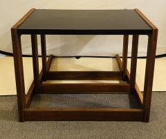 Jens Risom Mid Century Modern Set of Walnut Vinyl Nesting Side Tables By Jens Risom 1960s - 1479597