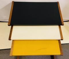 Jens Risom Mid Century Modern Set of Walnut Vinyl Nesting Side Tables By Jens Risom 1960s - 1479601