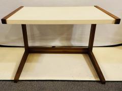 Jens Risom Mid Century Modern Set of Walnut Vinyl Nesting Side Tables By Jens Risom 1960s - 1479604