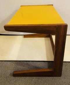 Jens Risom Mid Century Modern Set of Walnut Vinyl Nesting Side Tables By Jens Risom 1960s - 1479606