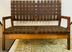 Jens Risom Mid Century Modern Weaved Strap and Canvas Bench in the manner of Jens Risom - 1493811