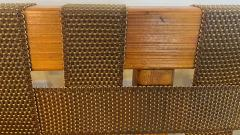 Jens Risom Mid Century Modern Weaved Strap and Canvas Bench in the manner of Jens Risom - 1493812