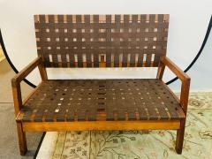Jens Risom Mid Century Modern Weaved Strap and Canvas Bench in the manner of Jens Risom - 1493814