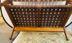 Jens Risom Mid Century Modern Weaved Strap and Canvas Bench in the manner of Jens Risom - 1493821