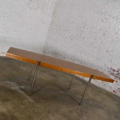 Jens Risom Modern walnut and chrome boat shaped dining conference table by jens risom - 1900224