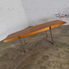 Jens Risom Modern walnut and chrome boat shaped dining conference table by jens risom - 1900227