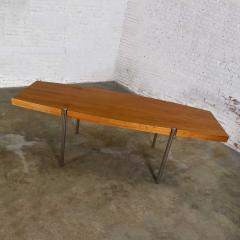 Jens Risom Modern walnut and chrome boat shaped dining conference table by jens risom - 1900228