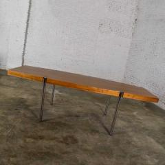 Jens Risom Modern walnut and chrome boat shaped dining conference table by jens risom - 1900233
