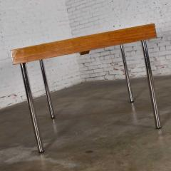 Jens Risom Modern walnut and chrome boat shaped dining conference table by jens risom - 1900264